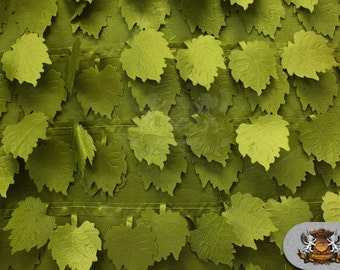 "Taffeta Grape Leaves Fabric OLIVE / 57"" Wide / Sold by the yard"