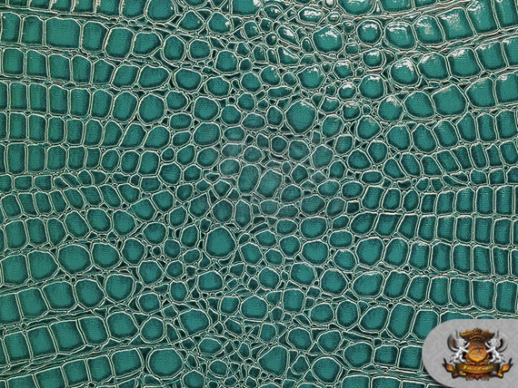 Vinyl Crocodile Dark Turquoise Fake Leather Upholstery Fabric