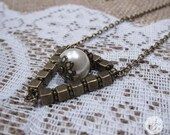 Triangle Necklace with Signature Pearl - Long length