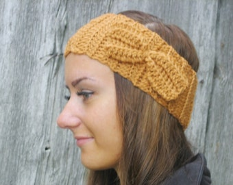20% off sale Crochet Headband Bun Ear warmer Head Wrap Brown Hat Girly Romantic, winter accessories BROWN HEADBAND