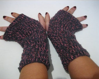 sale of 50% Fingerless Glove, Half Gloves crocheted  Pink mixed with Gray, spring, winter accessory, handmade accessories