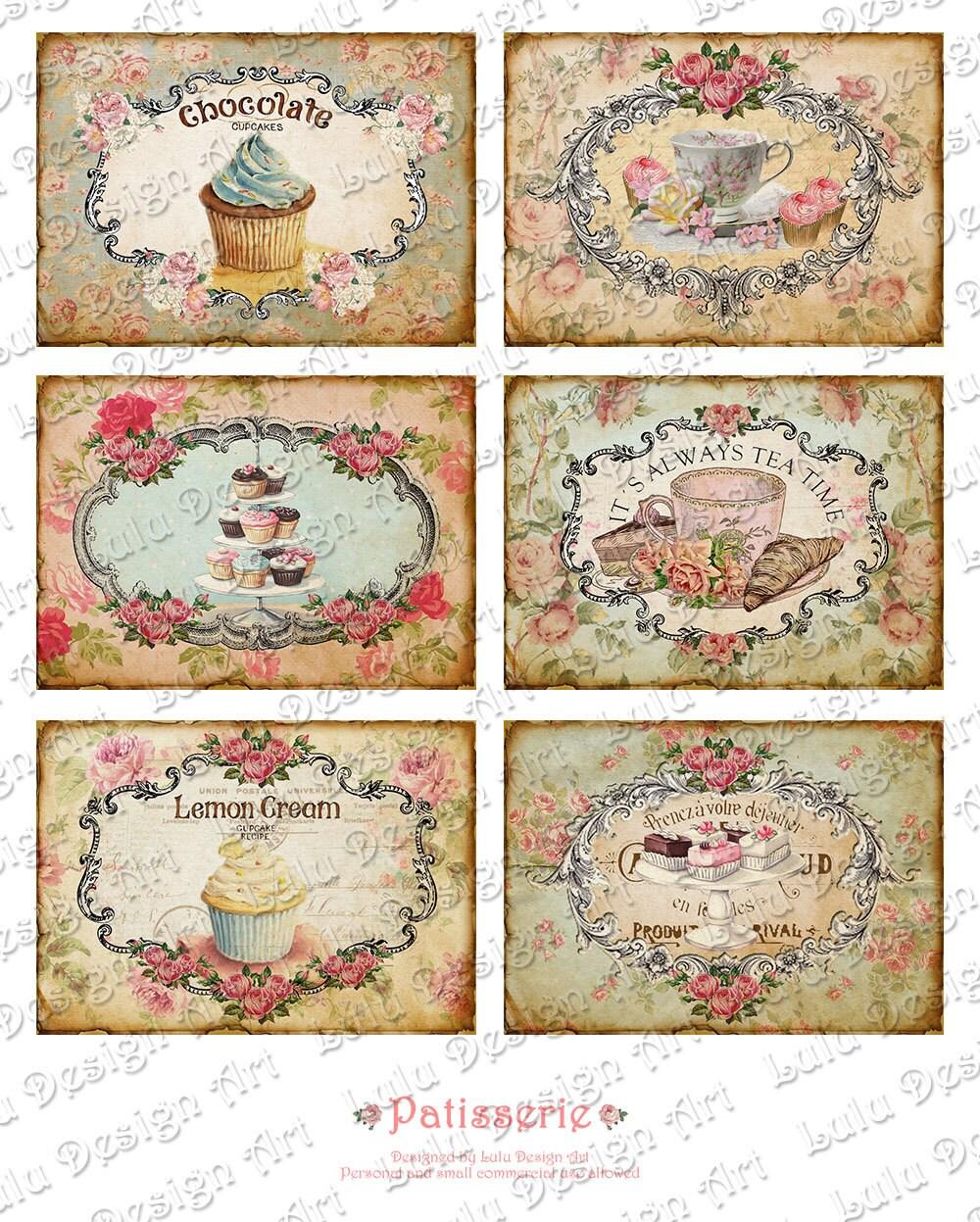 Patisserie Digital Cards Vintage Tags By Luludesignart On Etsy