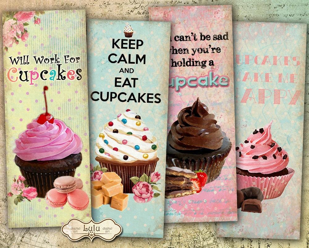 Cupcakes Bookmarks Digital Bookmarks Cupcakes Digital