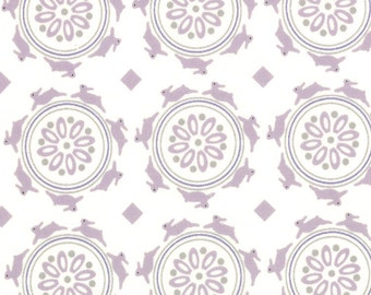 Half Yard Jubilee - Medallion Bunny in Cream Mauve - Cotton Fabric - by Bunny Hill Designs for MODA (W193)