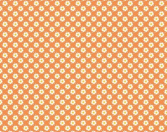 SUPER CLEARANCE! One Yard Hello Sunshine - Daisy in Orange - Cotton Quilt Fabric - Lori Whitlock for Riley Blake (W578)