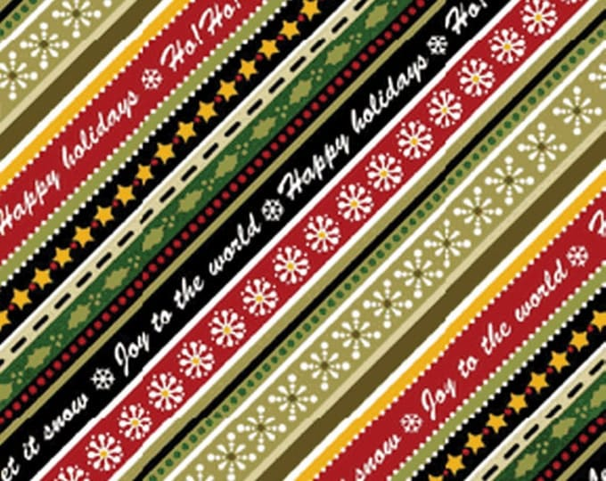 SALE!! Half Yard Winter Wishes - Diagonal Winterword Stripe in Taupe and Red Cotton Quilt Fabric - Michele D'Amore - Benartex Fabrics (W373)