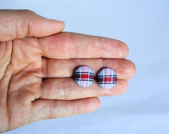 Petite Red White and Blue Plaid Fabric Button Earrings, Patriotic Earrings, 4th of July, Earring Post/Stud, Red White and Blue