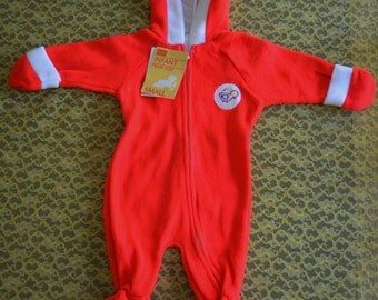 Vintage Infant pramsuit, adorable red, fuzzy, pramsuit from Sears.