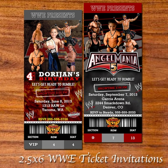 WWE Party Ticket Invitation By RedVelvetParties On Etsy