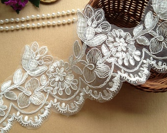 Gorgeous Ivory Wedding Lace Trim Ivory Embroidered Lace Trim for Edges of Wedding Gowns, Veils