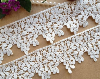 White Cotton Venice Leaves Lace Trim 2.36 Inches wide 2 Yards