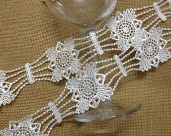 Ivory Venice Lace Trim, Antique Lace Trim, Wedding Belt Lace Costume Jewelry Design