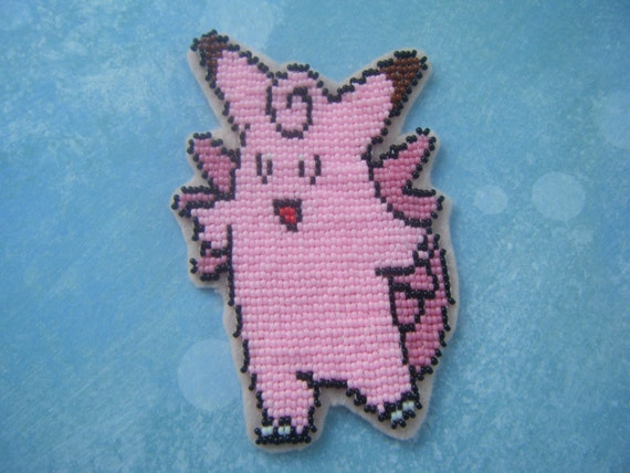 Beaded Pokemon Patch Clefable by AnimeHaven on Etsy