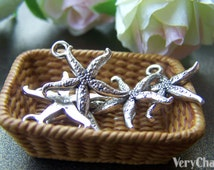 Starfish Charms Antique Silver Sea Life Pendants Set of 20 A1754