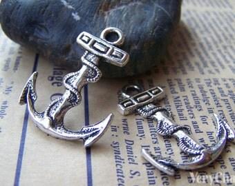 10 pcs of Tibetan Silver Antique Silver Anchor Charms 24x32mm A1275