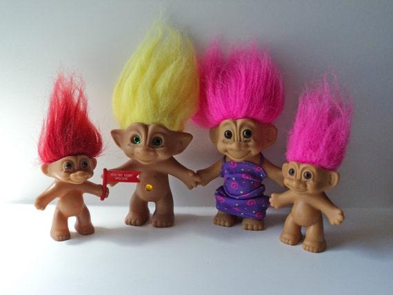 Trolls Dolls 90's Vintage Set of 4 Jewel Belly