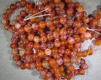 8 MM Crab Agate Bead  (Commonly Known as Fire Agate)  16 Inch Strand