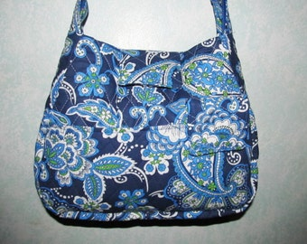 Handmade Quilted Purse,  Blue and White Paisley, Handbag, Quilted handbag,39A