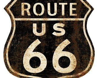 Route 66 Shield Distressed Wall Decal #40123