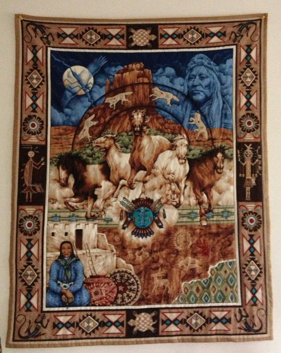 Native American Quilted Wall Hanging Handmade