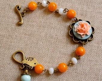 Romantic flower cabochon bracelet Colorful jade beads bracelet