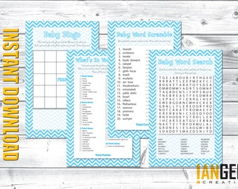 Baby Shower Games 4-Pack Instant Download