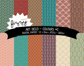 12 x  Art Deco Great Gatsby 1920s 1930s Colours No.2 Patterned Digital Paper Clipart  with Instant Download. MPM0009