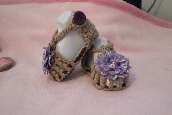 Handmade crochet preemie-newborn summer sandals