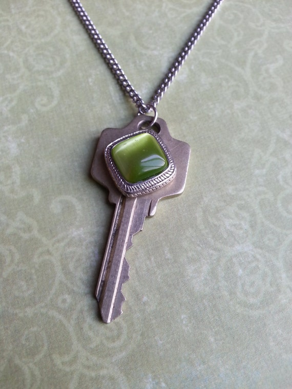 items similar to key necklace quot green quot on etsy