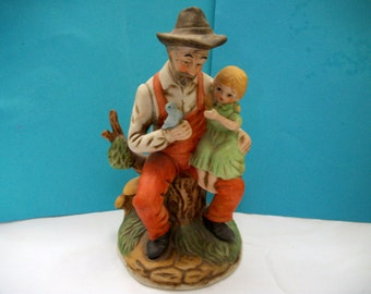 Vintage Homco Like Bisque Figurine Old Man and a Child Great Mothers Day, Fathers Day. Housewarming, Birthday, or Wedding Gift