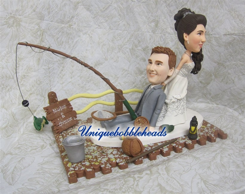Custom wedding cake topper fishing custom wedding cake for Fishing cake topper