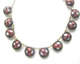 CZECKOSLOVAKIAN  ART DECO Necklace. Art Glass Czeckoslovakian Antique Necklace.