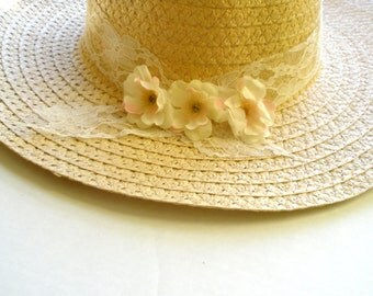 Summer hat ,sun  hat -Pink rose hat -Women's Wide Brim hat - Floral hat- Beach- Pool hat