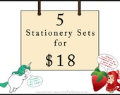 Bulk Order Savings: 5 Stationery Sets -  Designs of your choice - Standard or Long size - 50 Sheets total