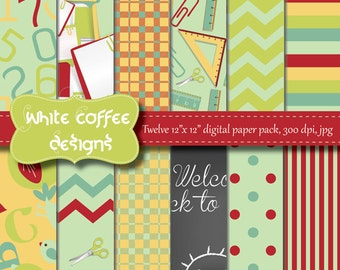Back to School printable Paper, Premade pages, Chevron, Chalkboard, Ruler, Green, Red, Yellow paper, craft supplies, website background
