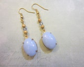 Vintage Lilac Egg and Gold Dust Earrings