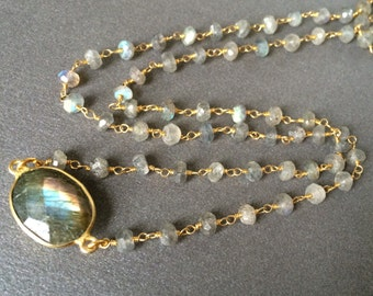 Labradorite Necklace, Faceted 16mm Oval Labradorite,  Rondelle Gold Chain