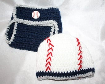 Newborn blue and gray crochet baseball hat with matching diaper cover