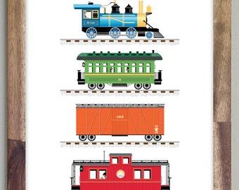 Train Print Art for Boys Room 8 x 10