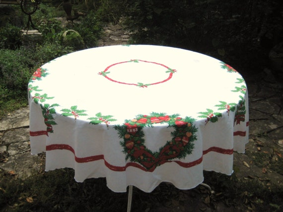 Round Christmas Tablecloth Country Christmas Holiday