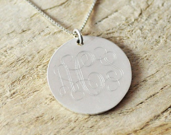 Sterling Silver Monogram Necklace - Personalized Bridesmaid Jewelry-engraved circle-custom initials disc