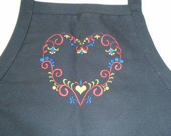 Embroidered Scandinavian Folk Art Country Heart on Black Apron #823