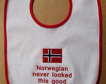 Scandinavian Embroidered Baby Bib - Swedish Finnish Norwegian or Danish Never Looked This Good