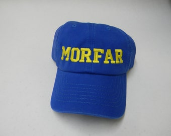 Scandinavian Embroidered Baseball Cap Hat for Swedish Grandfathers = Morfar or Farfar