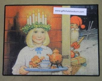 Scandinavian Lucia and Gnome Tomte Christmas Rug ~ Door Mat #160
