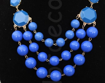 Blue Statement necklaces for women beaded necklace blue Bubble Necklace Bib Necklace for holiday gift jewelry Chunky Necklace