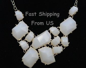 Beige statement necklaces ship from US Bubble necklace for girls bib necklace jewlery Jewelry Chunky Necklace Cluster Necklace