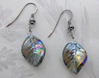 Black Diamond Falling Leaf Earrings in Sterling Silver