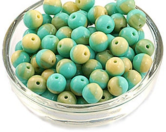 Two Tone Cream Turquoise 6mm Round Opaque Czech Glass Beads x 50