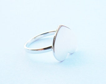 Full Heart Small Ring in solid sterling silver all sizes